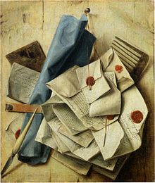 Letters sealed with sealing wax in a painting by Cornelis Norbertus Gysbrechts (1665)